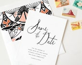 Letterpress Save the Date, Simple Save the Date, Art Deco Save the Date, Modern Save the Date, Calligraphy Save the Date, Wedding