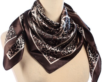 ANIMAL Print Scarf 90s Boho Vintage Brown Satin Leopard Snakeskin Patterned 1990s Shawl White Black Muffle Neckscarf Casual Moms Gift
