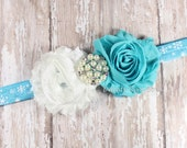 Turquoise and White Shabby Flower on Blue Snowflake Foldover Elastic Headband, Baby Headband, Newborn Headband, Toddler Headband, Photo Prop