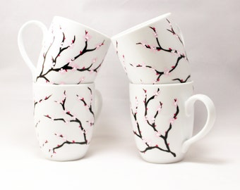Cherry Blossoms - Hand painted mugs - Painted coffee mugs with cherry blossoms - set of 4