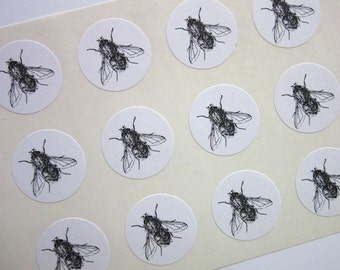 Fly Insect Bug One Inch Round Seals