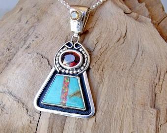 Turquoise Garnet Opal Citrine Sterling Silver Pendant RF636