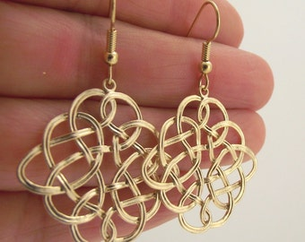 Gold Wire Knot Earrings, Gold Earrings