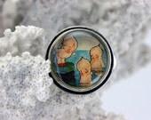 SALE! 40% off 21.00 Three Little Cuties- Kewpie Mermaids Adjustable Ring