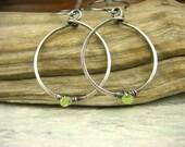 Sterling Silver Artisan green peridot gemstone Dangle Earrings teardrop hoop metal fine silver august birthstone minimalist jewelry