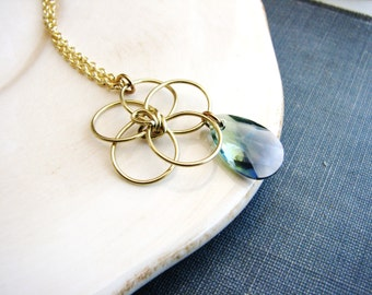 Wire Flower and Crystal Necklace Teardrop Necklace Crystal Necklace Daisy Necklace Freeform Wire Necklace Charm Necklace Minimalist Jewelry