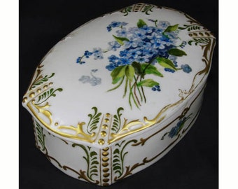 Vintage 1920s Porcelain Trinket Box - Hand Painted - Forget Me Not Flowers