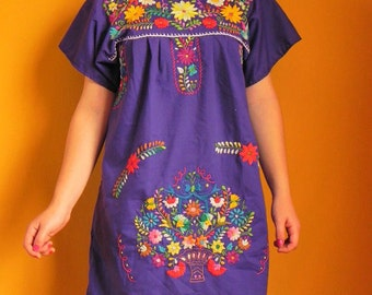 Mexican Purple Mini Dress Floral Colorful Embroidered Handmade Small