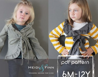 Girly Cardigan jacket sewing pattern 6M - 12Y easy Sew pdf  sweater coat