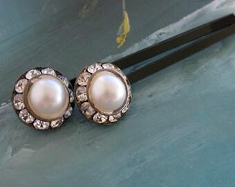 Pearl and Rhinestone Button Hair Bobbies