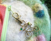Bicycle Zipper Pull, Antique Bronze with Beaded Charms