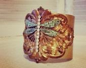 Dragonfly Cuff Bracelet -- Vintage Assemblage -- Bold Statement Jewelry