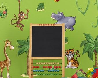 Small Childrens Jungle Animals Wall Stickers Scene