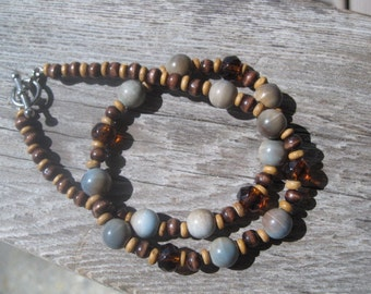 Blue and Brown Glass Bead, amber beads, blue and brown necklace, earthtones necklace,