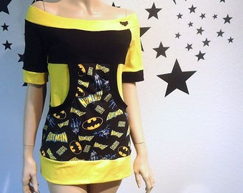 Batman Kangaroo Pocket Off Shoulder Top CUSTOM SIZE S M L XL