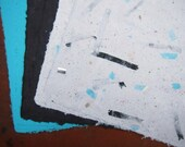 Handmade Recycled Paper - Turquoise and Black Mix