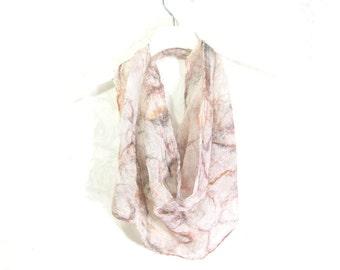 Nuno Felt Scarf Infinity Scarf Gift for Her Circle Scarf Spring Scarf Summer Fashion Womens Scarf in Brown Tan Beige White Silk Gauze OOAK
