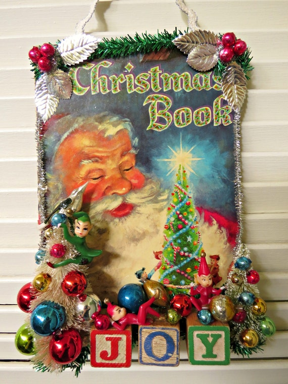 Book Cover Decoration Ideas Kids : Vintage book cover christmas wall decoration