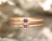 Genuine Purple Diamond 14K Rose Gold Ring, Gemstone Ring, Stacking Ring, Engagement Ring, Eco Friendly, Anniversary Ring - Made To Order