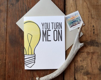 SASS-490 You Turn me On valentines letterpress card