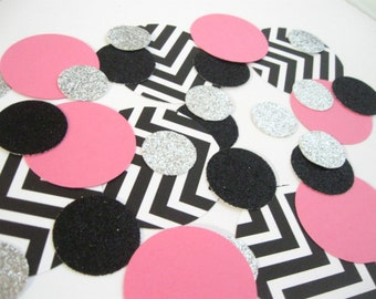 Black/White/Pink/Silver Confetti Mix - Parties/Showers/Weddings/Holidays/Table Decor/DIY Garland
