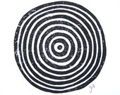 LINOCUT PRINT - geometric circles - black block print 8x10 tree ring bullseye