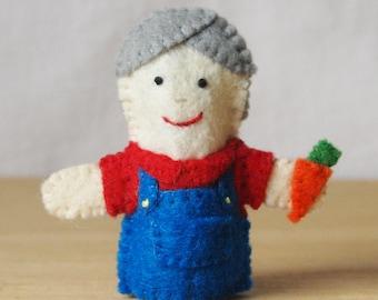 Felt finger puppet, Old McDonald, farmer, storytime puppet, Old McDonald finger puppet