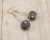 African Clay Bead Earrings - Black Round Painted Beads with Clear and Silver