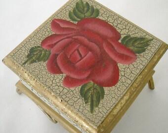 vintage rose crackled trinket/jewelry lidded box