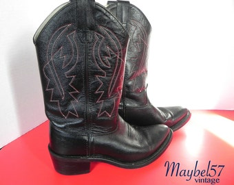 Vintage Cowboy Boots Black Leather with Red Stitching - Rockabilly Boots  7 or 8 US - on sale