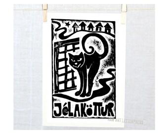 Jolakottur 5x7 Iceland Christmas Cat Yule Lads Christmas Gift Idea Holiday Decor Black and White Art Cat Wall Art Print