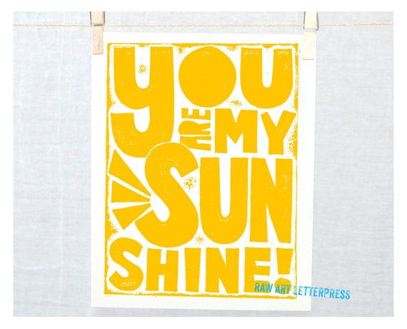 You are my Sunshine, Wall Art, Kitchen Art, Nursery Decor, Mothers Day Gift Idea, Kids Gift Ideas, typography poster, typographic print