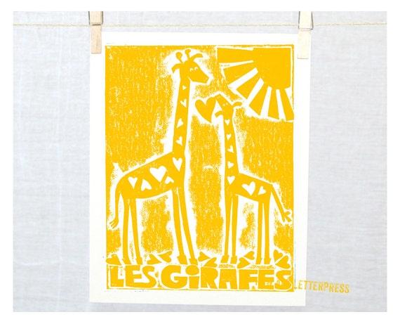 Les Girafes, Modern Nursery Art Print, Art in French, Jungle theme, Giraffe