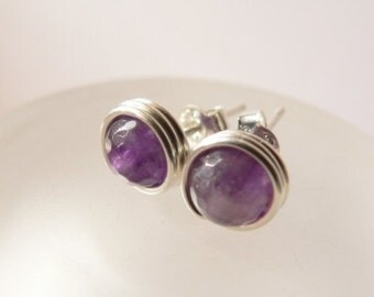 Amethyst earstuds, silver post earrings, handmade jewelry, wire wrapped studs, purple gemstone, casual wear, everyday wear, affordable gift