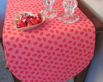 """Valentines Kisses Table Runner 36"""" Reversible Valentines Pink Hearts Table Runner Red Heart Table Runner Red Lips Table Runner Pink Lips"""