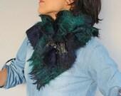 Mohair Wool Scarf, Re-designed Vintage Scottish Neck Warmer, Tartan Pattern Green, Indigo, Black Cowl, Unisex