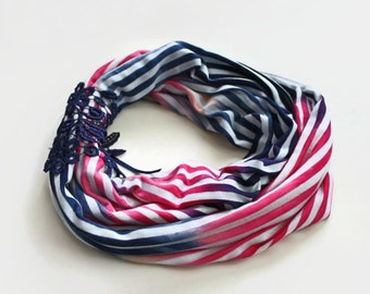 Infinity Scarf, Chunky Loop Neck Warmer, Pink Navy Blue Striped Combed Cotton, Circle Cowl Collar, Soft, Cozy, Mothers Day Gift