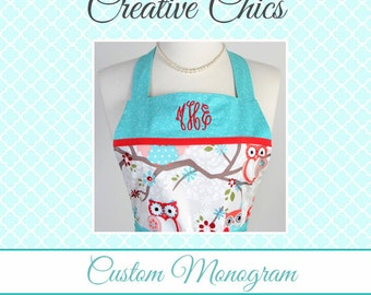Monogram Personalized Custom Embroidery on Aprons (Embroidery Only) - Purchase Apron Separately