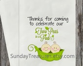 Qty 12 Two Peas in a Pod Baby Shower Candy Buffet Party Favor Cookie Treat Bags Table Decor PERSONALIZED 3 DayShip