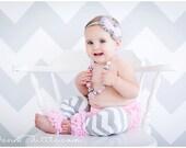 4 piece set HEADBAND Bloomer NECKLACE and Leg warmers-Chiffon Ruffle Bum Baby Bloomer Legwarmers Diaper Cover  SET- Photo Prop- My2lilPixies