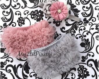 Baby shower gift set- Baby Bloomer and Shabby Chic Headband Set- 2 Ruffle Bum Baby Bloomers,Vintage pink,newborn bloomer