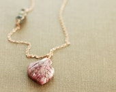 Long Rose Gold Leaf Necklace, Rustic Pink Tourmaline Gemstone Necklace, Gold Layering Necklace, October Birthstone Jewelry