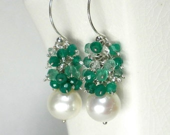 Pearl Cluster Earrings, Green Cluster Earrings, Akoya Pearl Earrings
