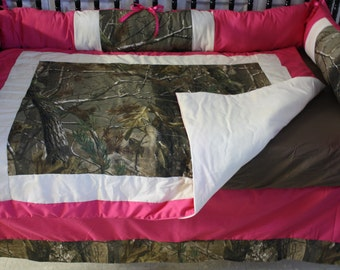 5pc  Hot Pink Camo Real Tree   Baby Bedding- Free personalized pillow