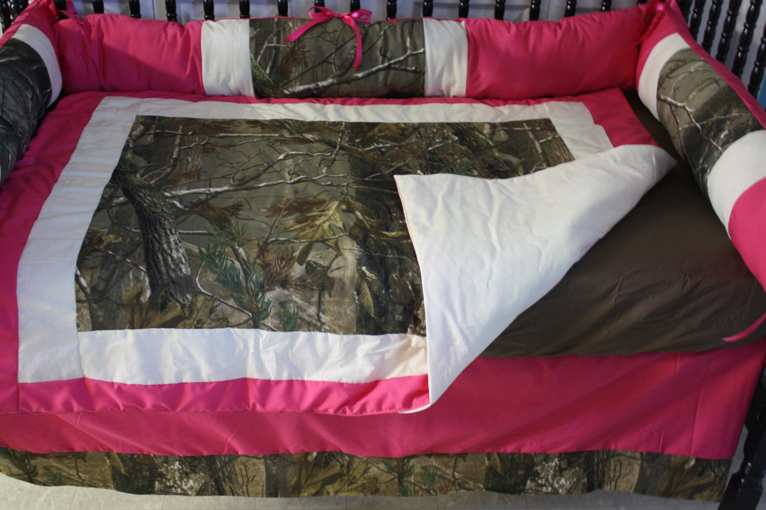 5pc Hot Pink Camo Real Tree Baby Bedding Free Personalized