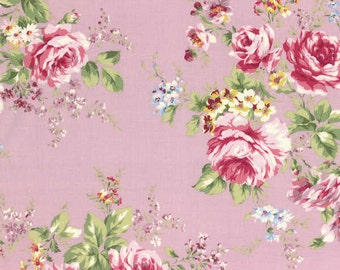 Rococo Sweet 2014 Large Rose Bouquets on Lavender Cotton Fabric Lecien 30152-110