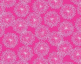 Deep Pink Dandelion  Cotton Fabric Contempo Fabrics Michele D'Amore 3999-04