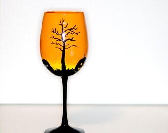 Orange and Black Halloween Hand Painted Wine Glass