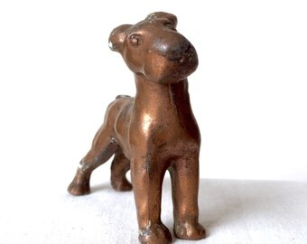 Vintage Bronze Color Metal Dog