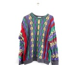 COOGI Sweater Vintage // 3D Knit Mercerised Cotton // Original Size Medium // Australia